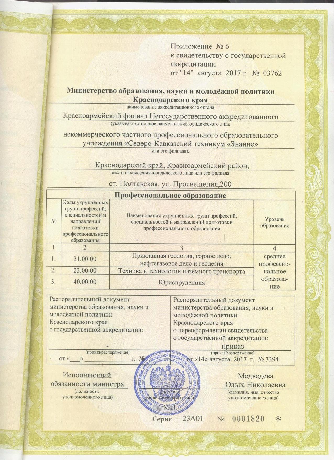 Приложение к гос.акредитации